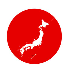 outline of map of japan in red circle - flag of vector image