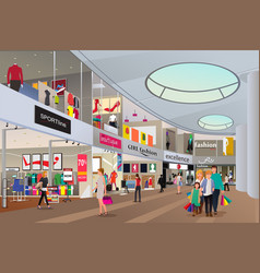 People shopping in a mall vector