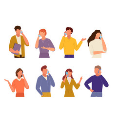 people talking on phone set communication in vector image
