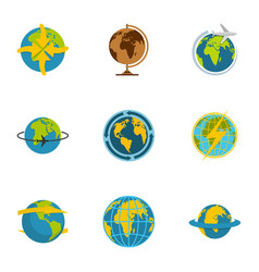 planet icons set flat style vector image