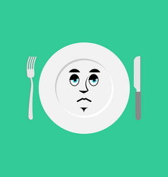 Plate sad emoji empty dish isolated sorrowful vector