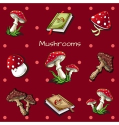 Red background with mushrooms and book vector image