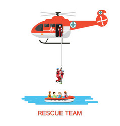 Rescue team with rescue helicopter and boat vector