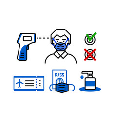 Safe travel line icon check up control vector