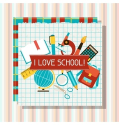 School and education background with sticky papers vector image