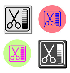 scissors and comb flat icon vector image