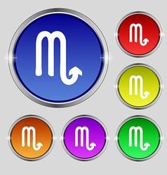 Scorpio icon sign Round symbol on bright colourful vector image