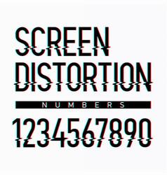 Screen distortion alphabet numbers vector