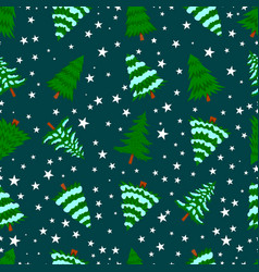 seamless pattern with pine trees and snow design vector image