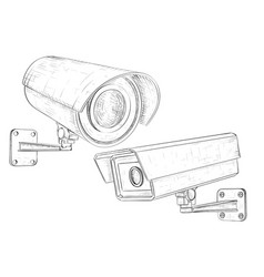 security cctv camera set hand drawn sketch vector image