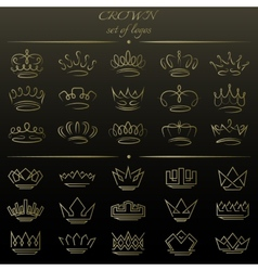 set crowns in different styles vector image