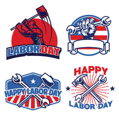 set designs of badge labor vector image