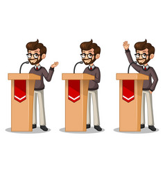 set of hipster businessman giving a speech behind vector image