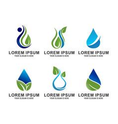 set of water drop logo vector image