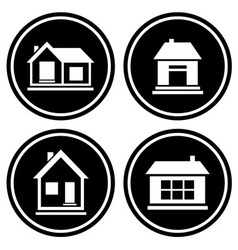 Set round icons with house vector