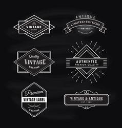 set vintage label blackboard retro design banner vector image