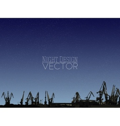 Shipyard harbor skyline night design vector image