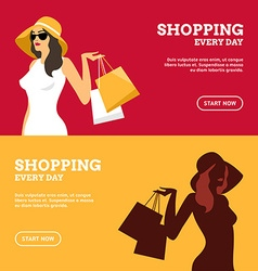 Shopping Everyday Girl with Shopping Bags Set of vector