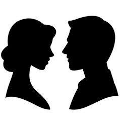 Silhouette cameo man and woman portrait in profile vector