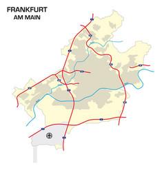 simple outline map city frankfurt am main vector image