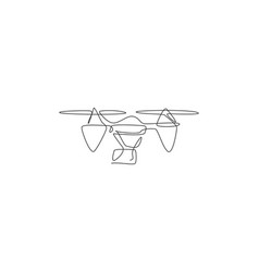 Single continuous line drawing flying drone vector