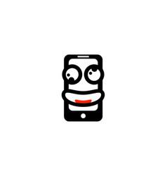 smile mobile phone logo vector image
