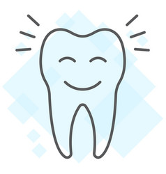 Smiling tooth thin line icon stomatology vector