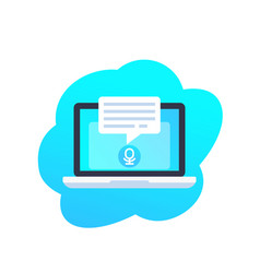 Speech recognition in laptop computer icon vector