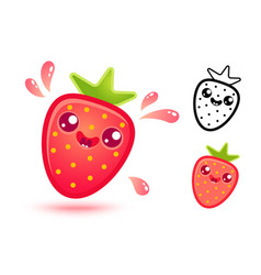 Strawberry with juicy drops vector