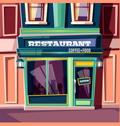 Street cafe in city house facade cartoon vector
