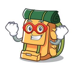 super hero backpack character cartoon style vector image