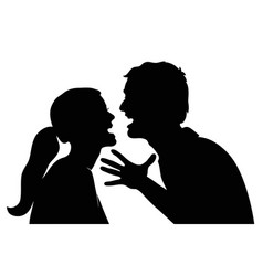 Swearing couple silhouette on a white background vector