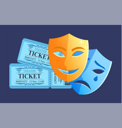 Tickets and masks drama and comedy plays vector