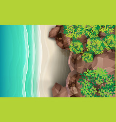 Top view rock cave on beach vector