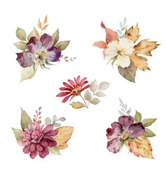 Watercolor set of autumn bouquets of flowers vector