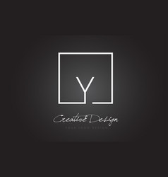 Y square frame letter logo design with black and vector