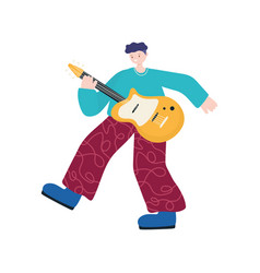 young man playing electric guitar musical isolated vector image