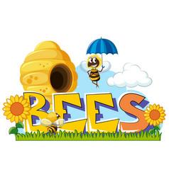 Bees flying around in garden vector