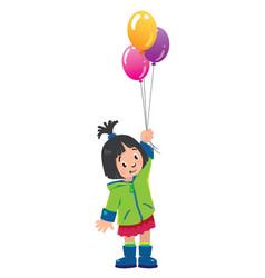 Funny little girl with balloons vector