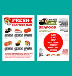 Japanese seafood restaurant sushi bar menu design vector