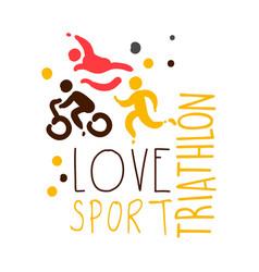 love triathlon sport logo colorful hand drawn vector image