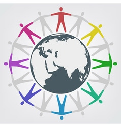 People around globe vector image