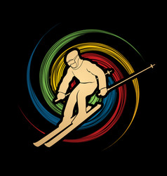 skier action ski graphic vec vector image