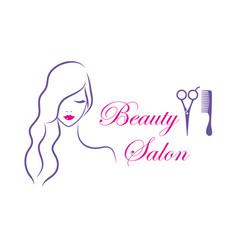beautiful woman logo template for hair vector image