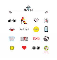 colorful modern retro feminine fun icons set vector image vector image