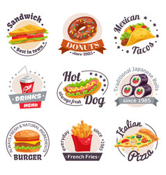 fast food labels set vector image
