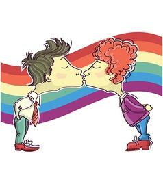 gay couple kissing vector image vector image