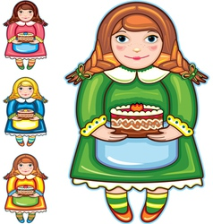 girl pie birthday set vector image
