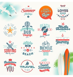 Set of travel and summer vacation type design vector image vector image