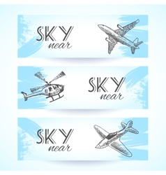 Aircraft icons banners sketch vector image vector image